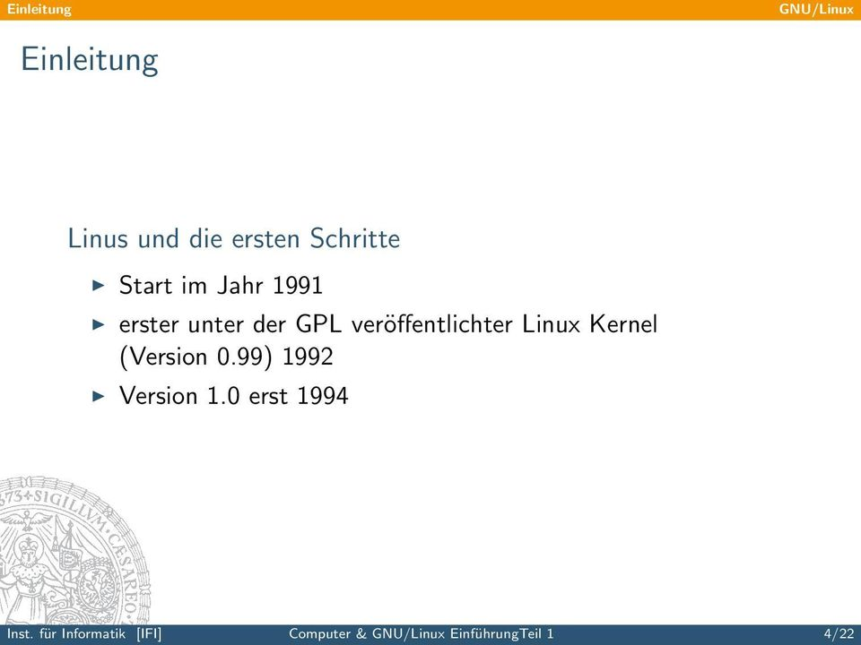 (Version 0.99) 1992 Version 1.0 erst 1994 Inst.