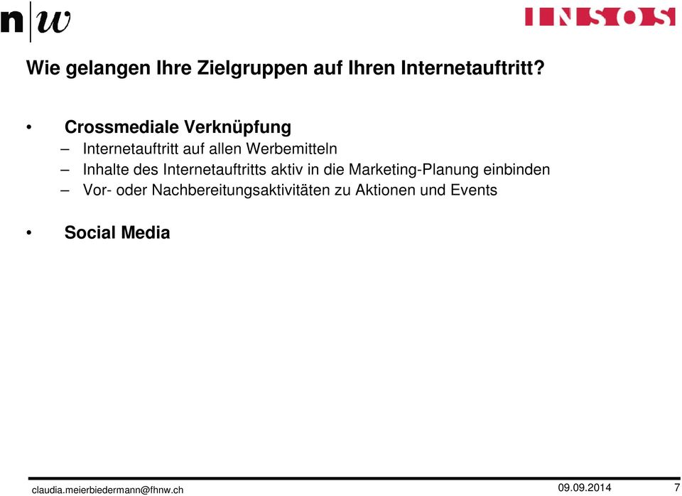 Inhalte des Internetauftritts aktiv in die Marketing-Planung