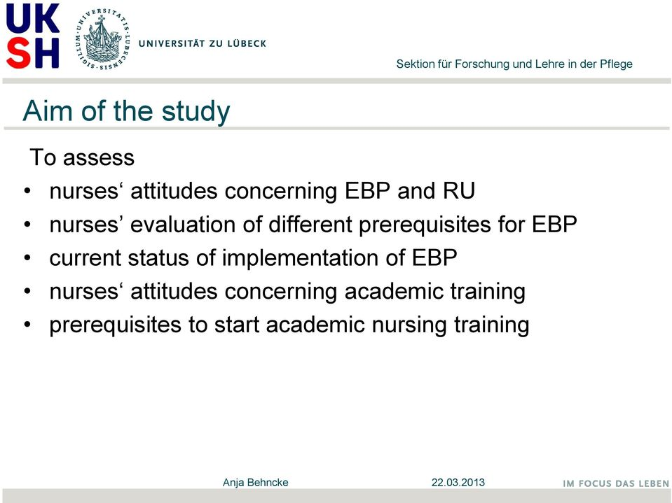 status of implementation of EBP nurses attitudes concerning