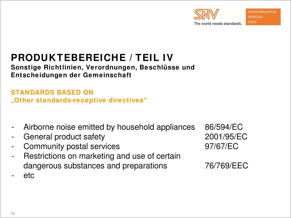 household appliances 86/594/EC - General product safety 2001/95/EC - Community postal services