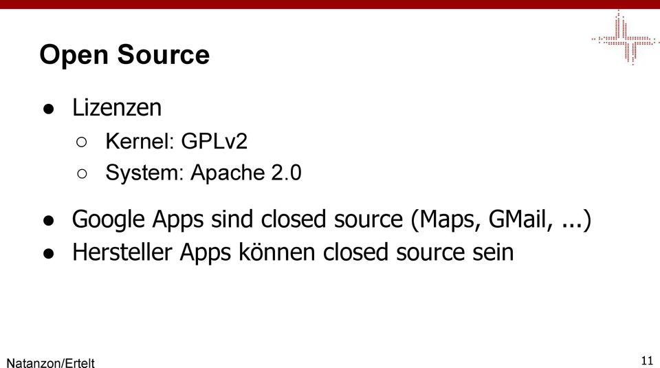 0 Google Apps sind closed source