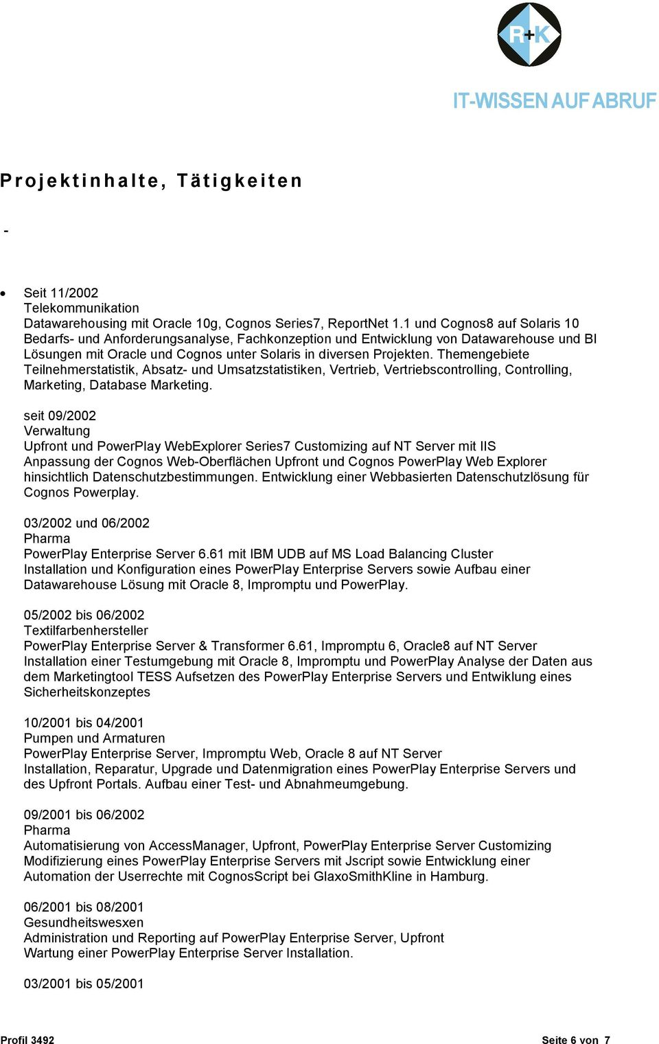 Berater-Profil Senior-Berater (Cognos. Oracle) - PDF