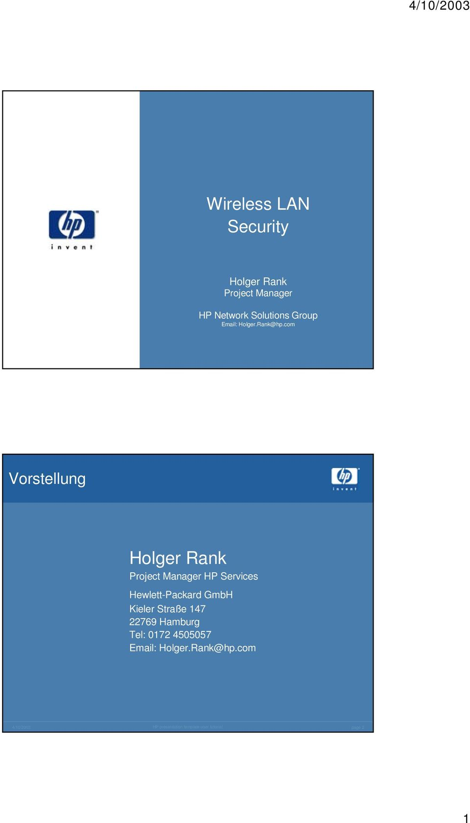 com Vorstellung Holger Rank Project Manager HP Services