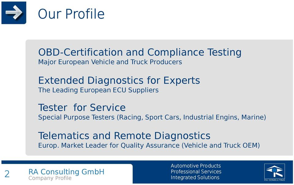 Service Special Purpose Testers (Racing, Sport Cars, Industrial Engins, Marine)