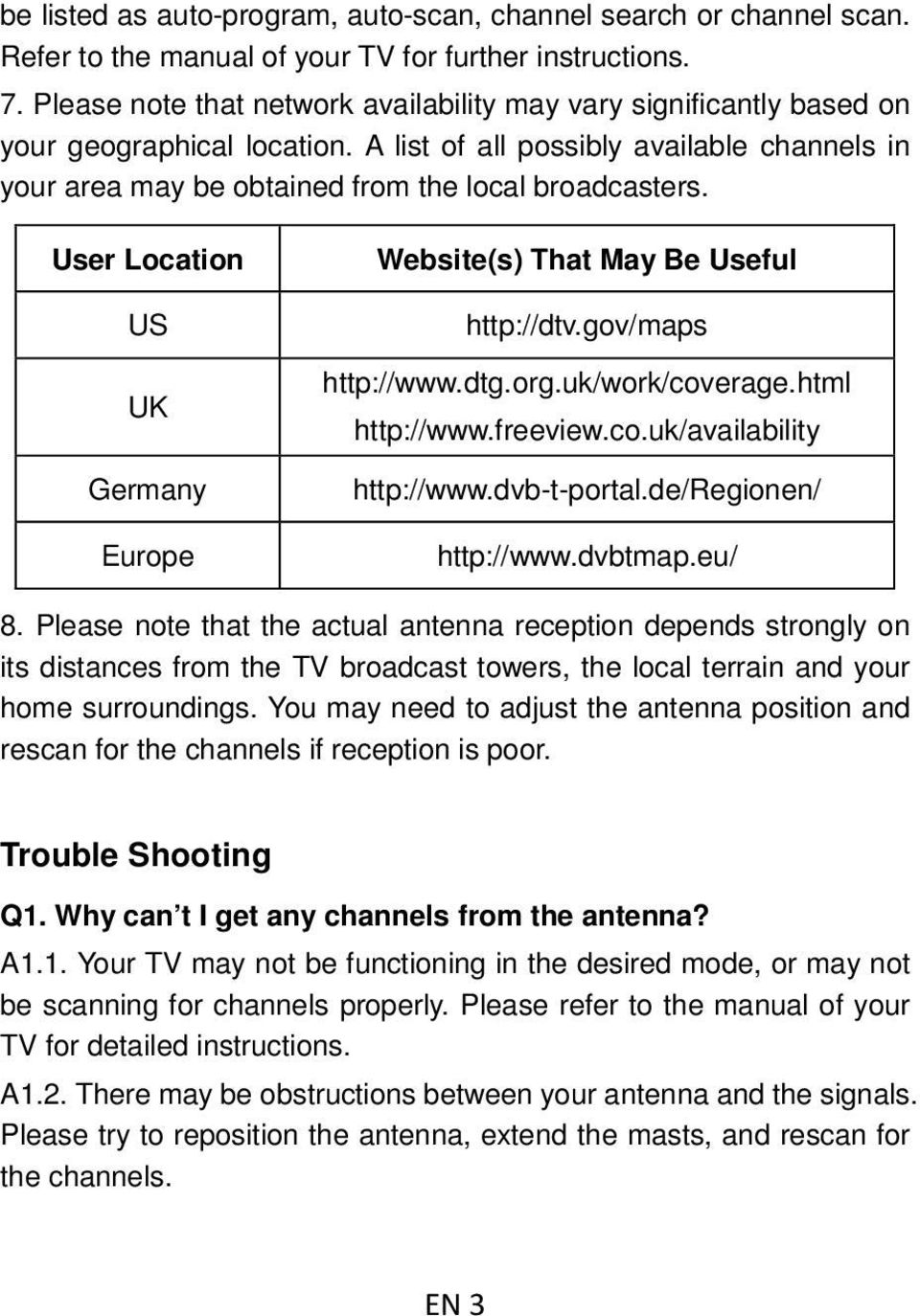User Location US UK Germany Europe Website(s) That May Be Useful http://dtv.gov/maps http://www.dtg.org.uk/work/coverage.html http://www.freeview.co.uk/availability http://www.dvb-t-portal.