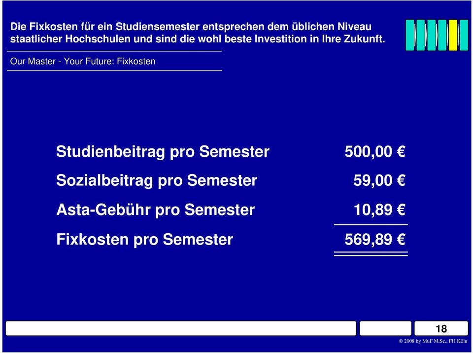 Our Master - Your Future: Fixkosten Studienbeitrag pro Semester 500,00