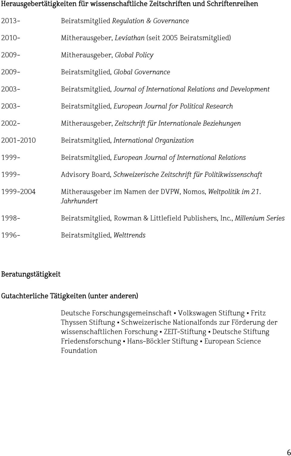 Research 2002- Mitherausgeber, Zeitschrift für Internationale Beziehungen 2001-2010 Beiratsmitglied, International Organization 1999- Beiratsmitglied, European Journal of International Relations