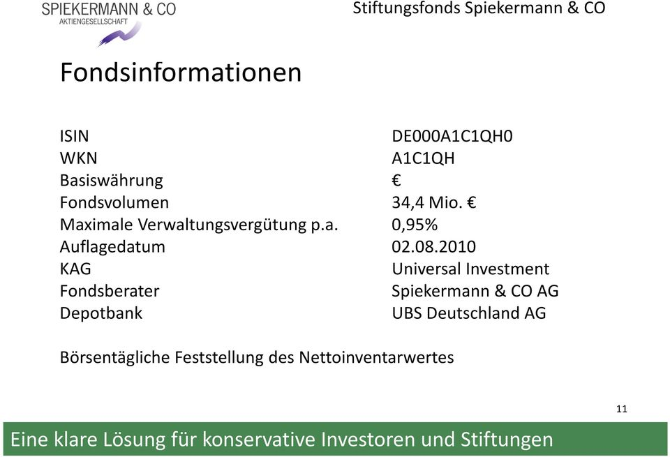 08.2010 KAG Universal Investment Fondsberater Spiekermann & CO AG
