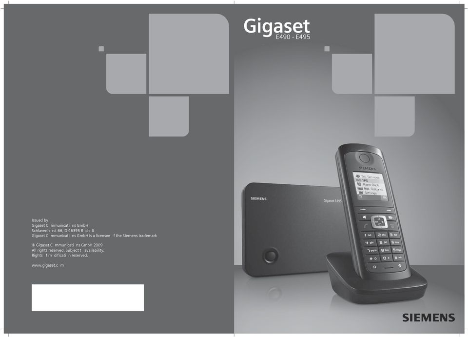 Siemens trademark Gigaset Communications GmbH 2009 All rights