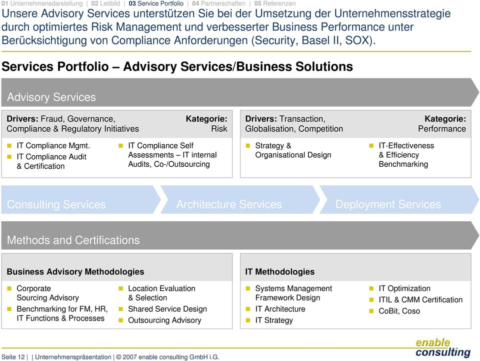 Services Portfolio Advisory Services/Business Solutions Advisory Services Drivers: Fraud, Governance, Compliance & Regulatory Initiatives Kategorie: Risk Drivers: Transaction, Globalisation,