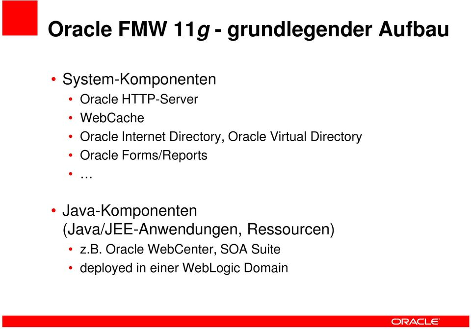Directory Oracle Forms/Reports Java-Komponenten