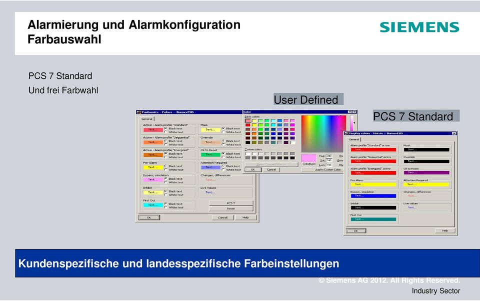 Farbwahl User Defined PCS 7 Standard