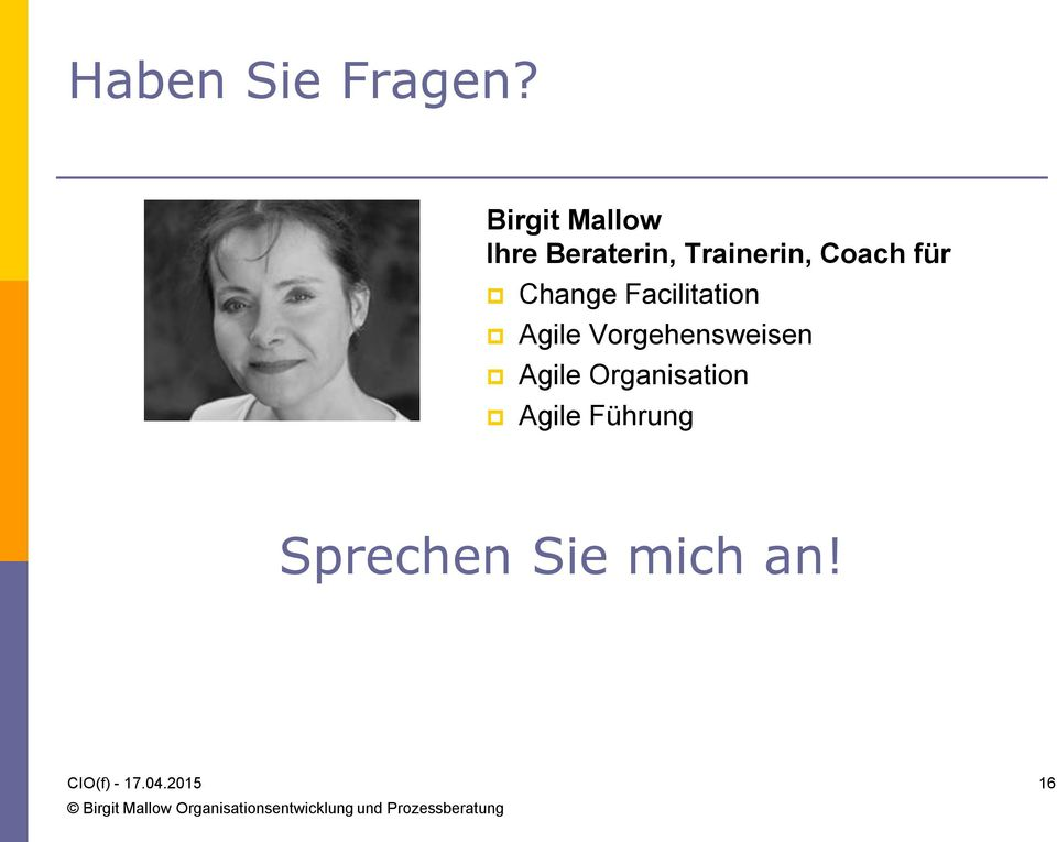 Coach für Change Facilitation Agile