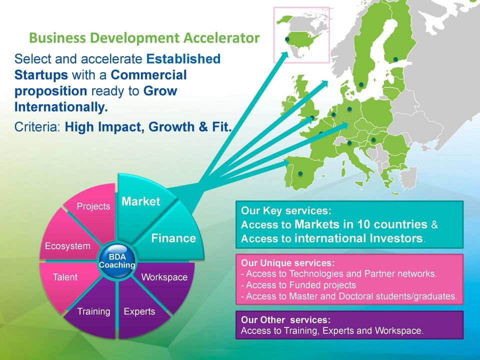Ecosystem Talent Projects Training BDA Coaching Market Experts Finance Workspace Our Key services: Access to Markets in 10 countries &