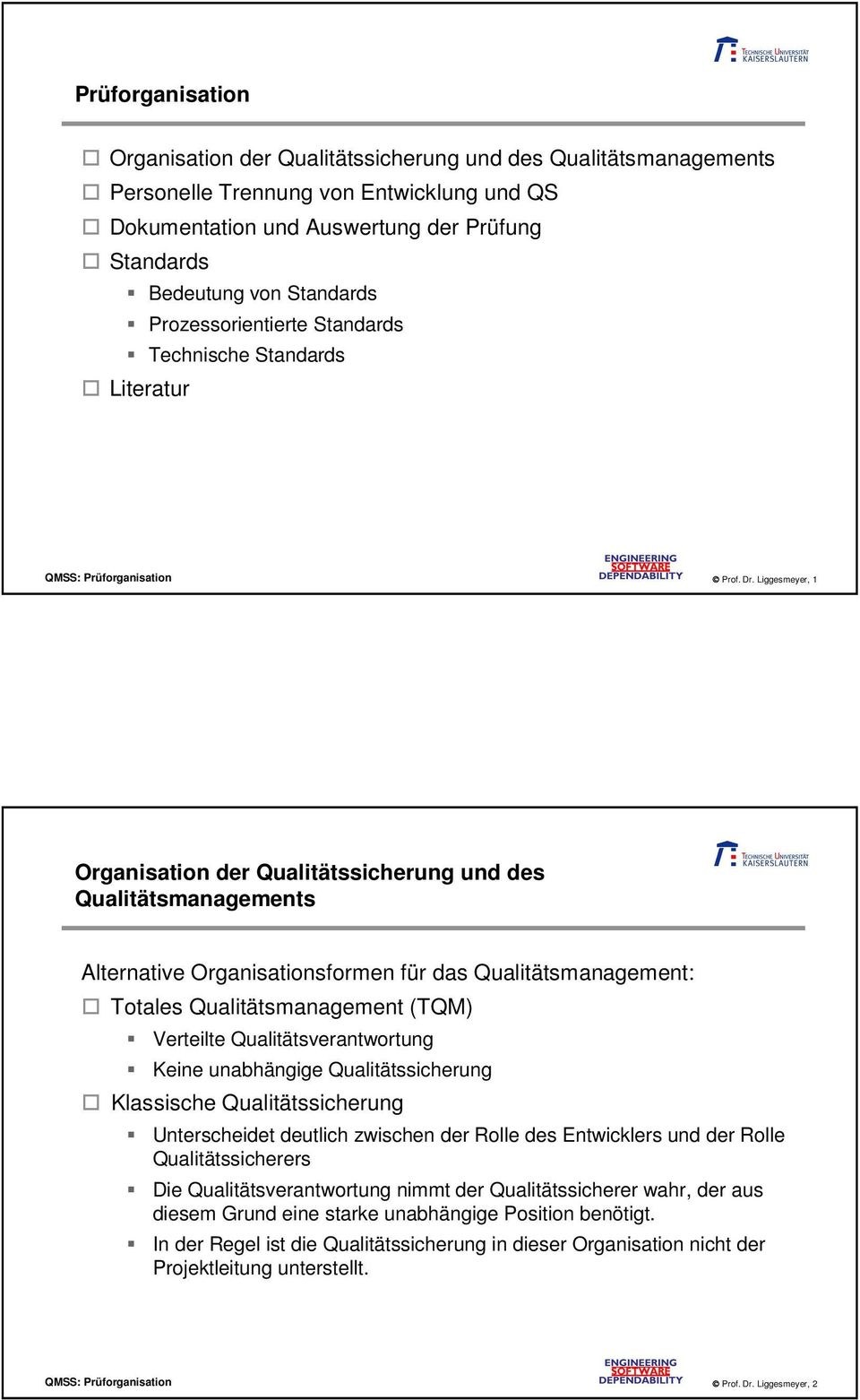 Liggesmeyer, 1 Organisation der Qualitätssicherung und des Qualitätsmanagements Alternative Organisationsformen für das Qualitätsmanagement: Totales Qualitätsmanagement (TQM) Verteilte