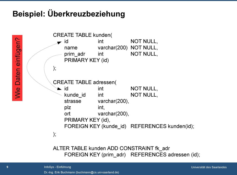 CREATE TABLE adressen( id int NOT NULL, kunde_id int NOT NULL, strasse varchar(200), plz int, ort varchar(200),