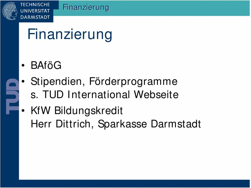 TUD International Webseite KfW