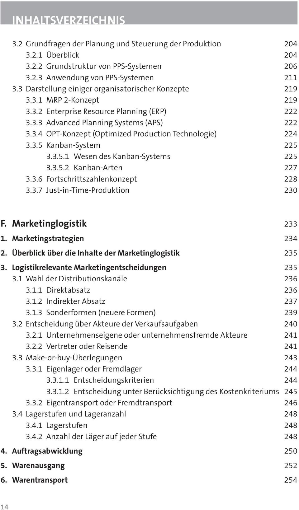 3.5 Kanban-System 225 3.3.5.1 Wesen des Kanban-Systems 225 3.3.5.2 Kanban-Arten 227 3.3.6 Fortschrittszahlenkonzept 228 3.3.7 Just-in-Time-Produktion 230 F. Marketinglogistik 233 1.