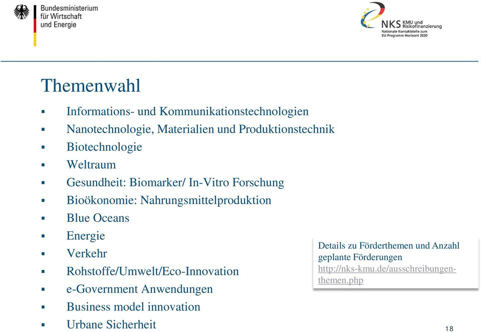 Oceans Energie Verkehr Rohstoffe/Umwelt/Eco-Innovation e-government Anwendungen Business model innovation