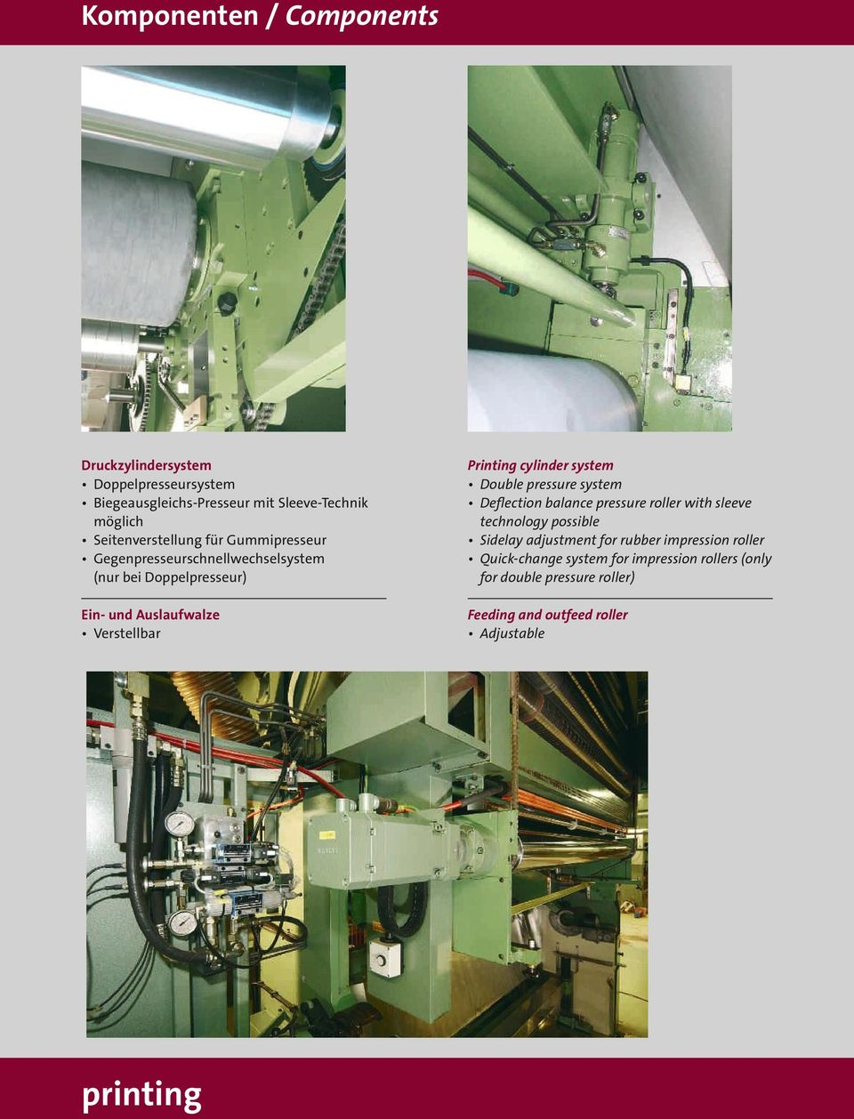 Printing cylinder system Double pressure system Deflection balance pressure roller with sleeve technology possible Sidelay