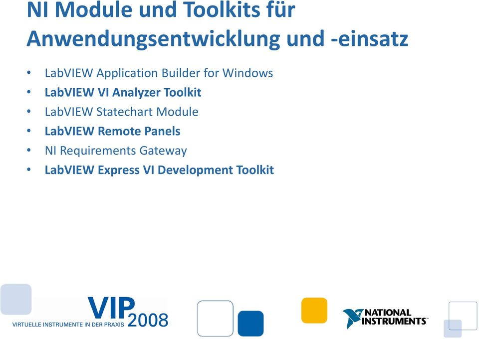 Analyzer Toolkit LabVIEW Statechart Module LabVIEW Remote