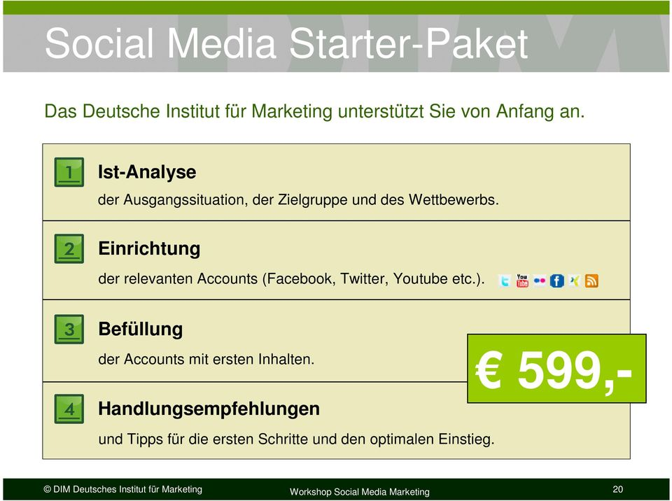 2 Einrichtung der relevanten Accounts (Facebook, Twitter, Youtube etc.).