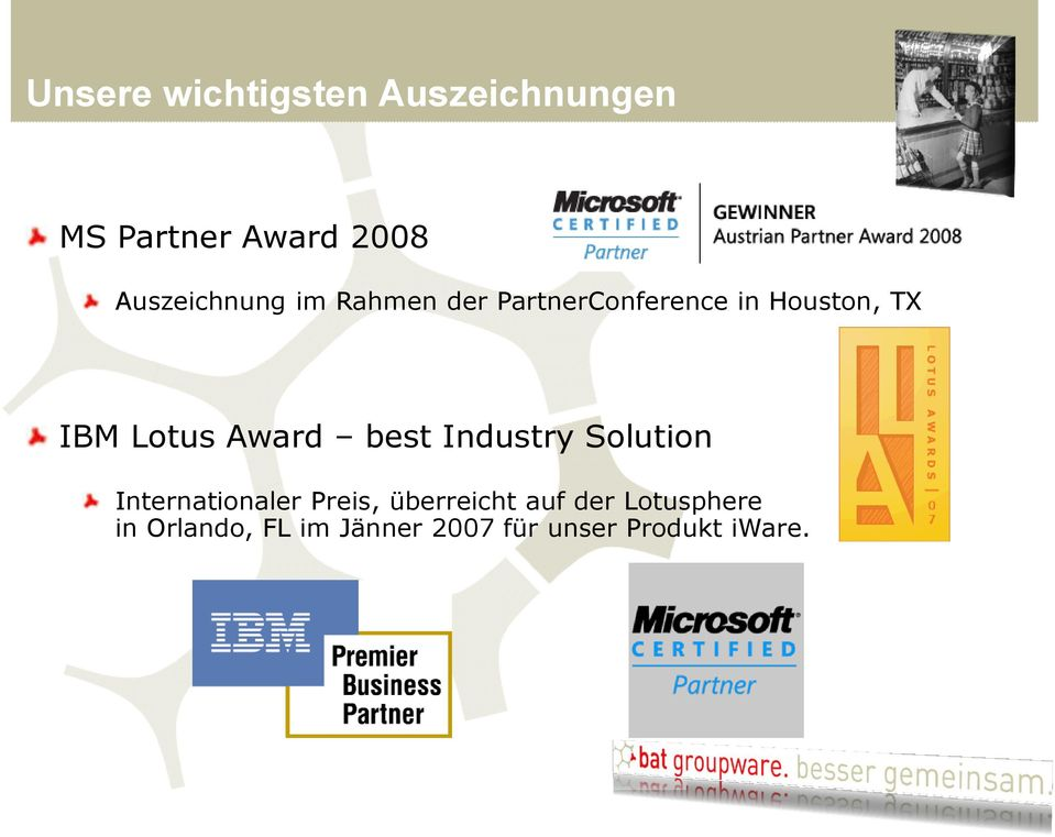 Lotus Award best Industry Solution Internationaler Preis,