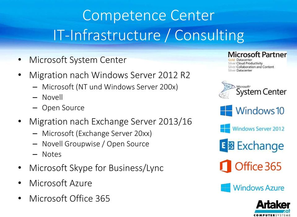 Microsoft (Exchange Server 20xx) Novell Groupwise / Open Source Notes Microsoft Skype