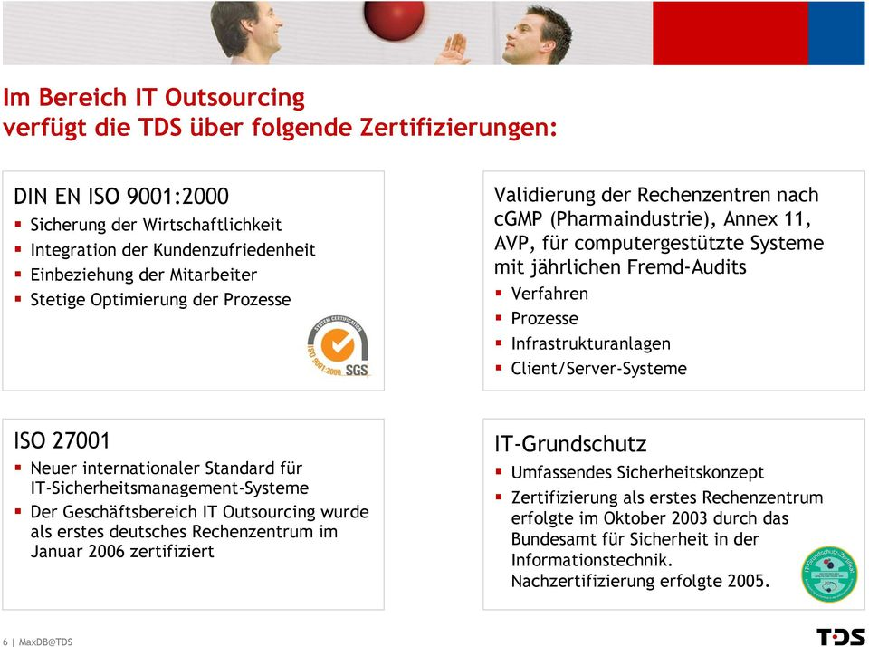 Infrastrukturanlagen Client/Server-Systeme ISO 27001 Neuer internationaler Standard für IT-Sicherheitsmanagement-Systeme Der Geschäftsbereich IT Outsourcing wurde als erstes deutsches Rechenzentrum