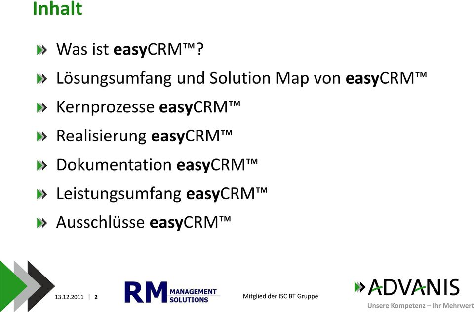 Kernprozesse easycrm Realisierung easycrm