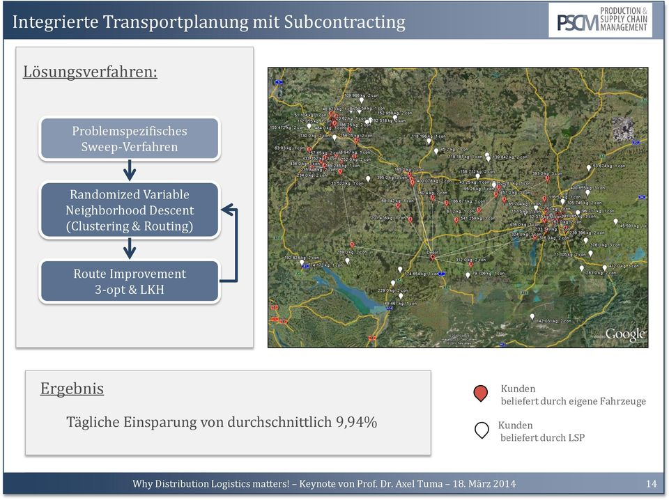 (Clustering & Routing) Route Improvement 3-opt & LKH Ergebnis Tägliche