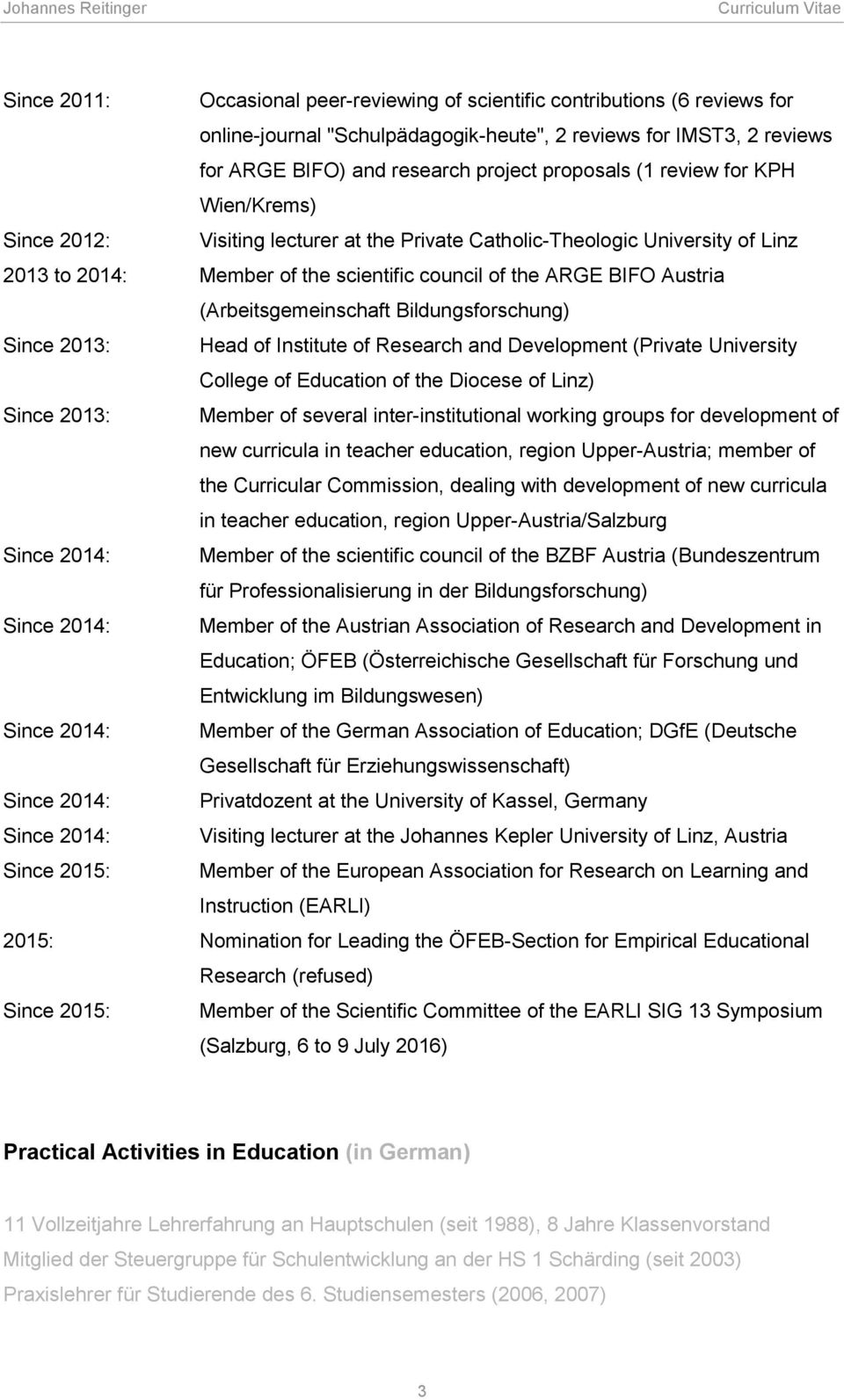(Arbeitsgemeinschaft Bildungsforschung) Since 2013: Head of Institute of Research and Development (Private University College of Education of the Diocese of Linz) Since 2013: Member of several