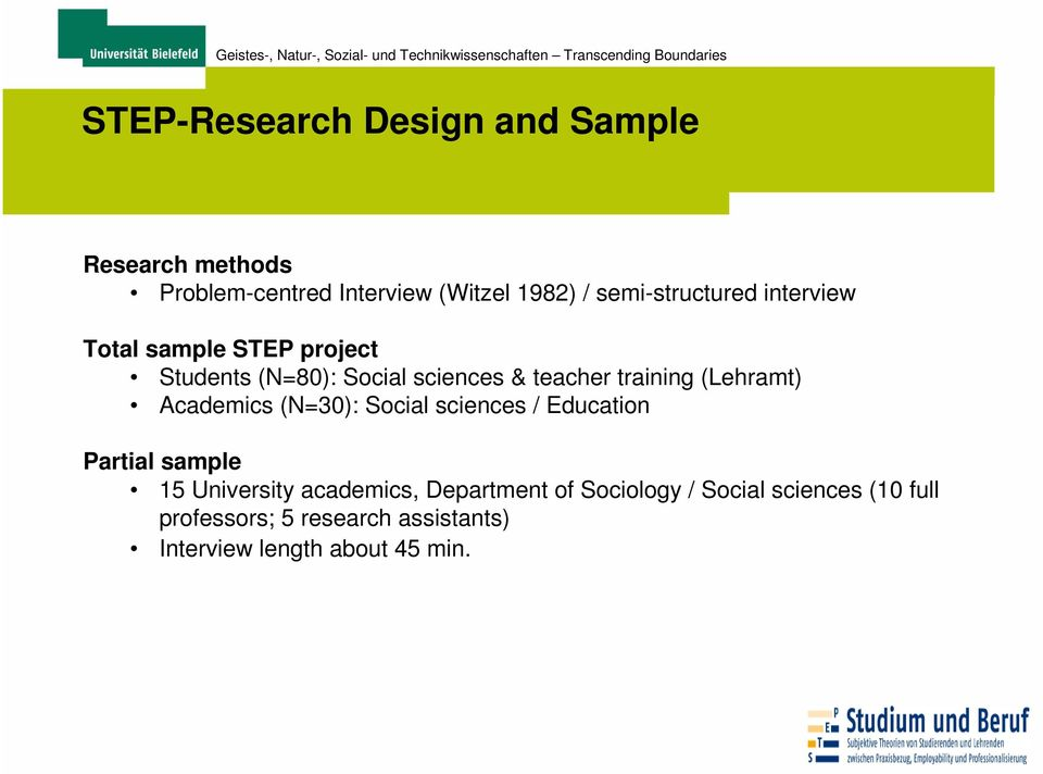 training (Lehramt) Academics (N=30): Social sciences / Education Partial sample 15 University