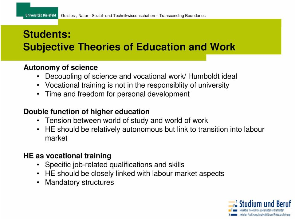 education Tension between world of study and world of work HE should be relatively autonomous but link to transition into labour market
