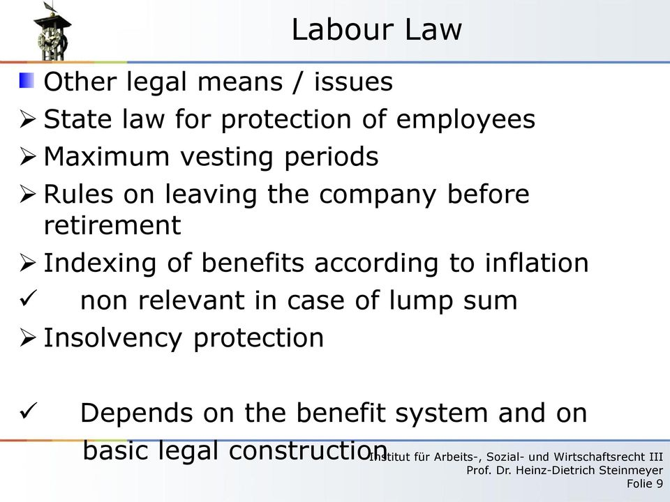 Indexing of benefits according to inflation non relevant in case of lump sum