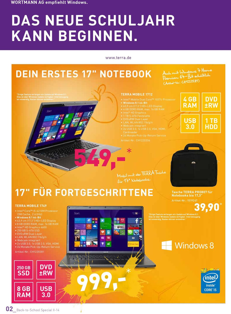 """ TERRA MOBILE 1712 Intel Mobile Dual Core 1037U Prozessor 43,9 cm (17,3"") HD+ LED Display 4 DDR3, max. 16 Intel HD Graphics 1 TB S-ATA Festplatte DVD±RW Dual Layer LAN, WLAN 802."