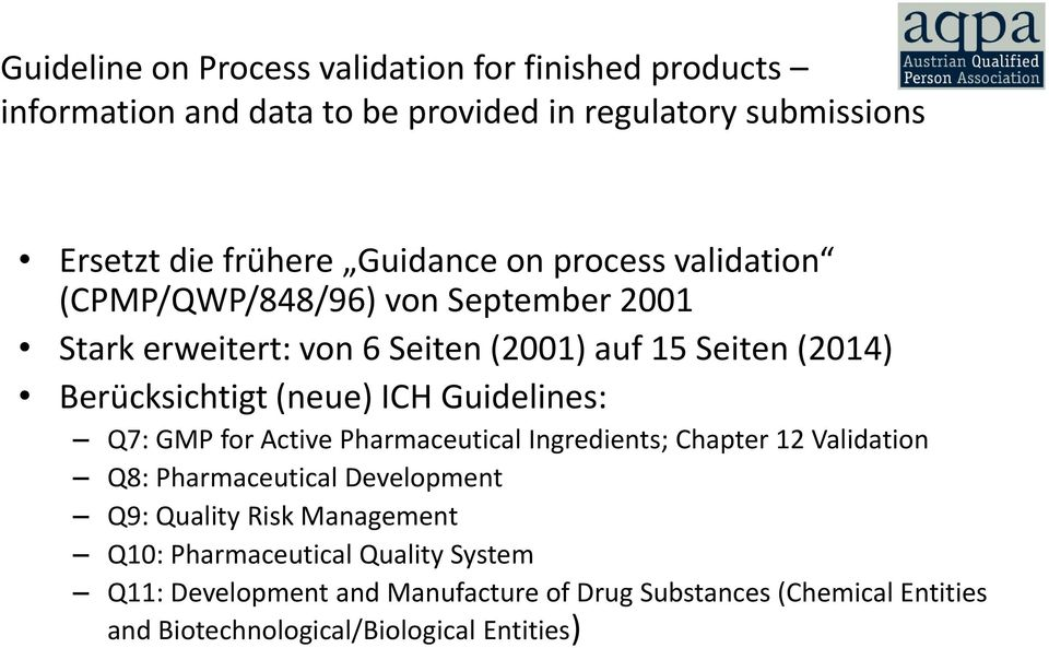 (neue) ICH Guidelines: Q7: GMP for Active Pharmaceutical Ingredients; Chapter 12 Validation Q8: Pharmaceutical Development Q9: Quality Risk