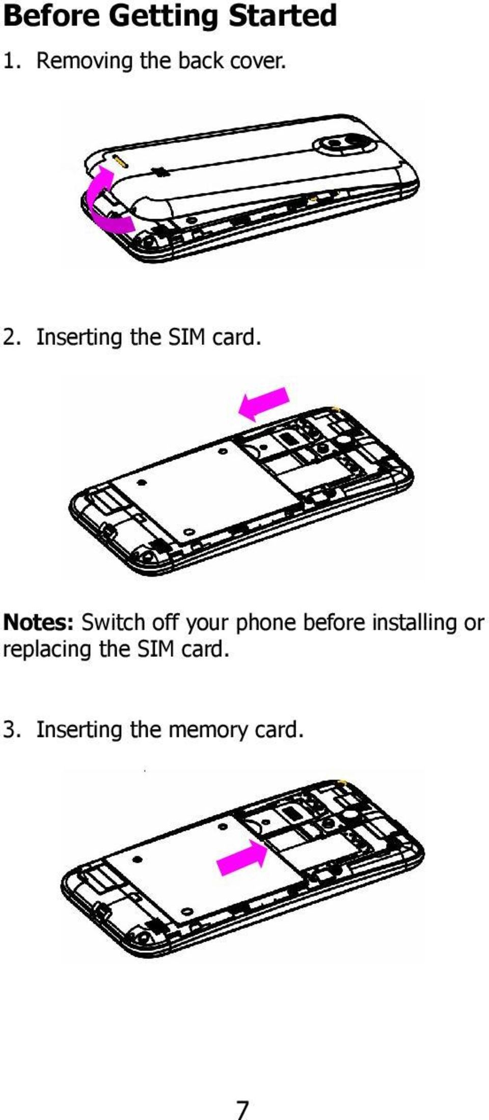 Inserting the SIM card.