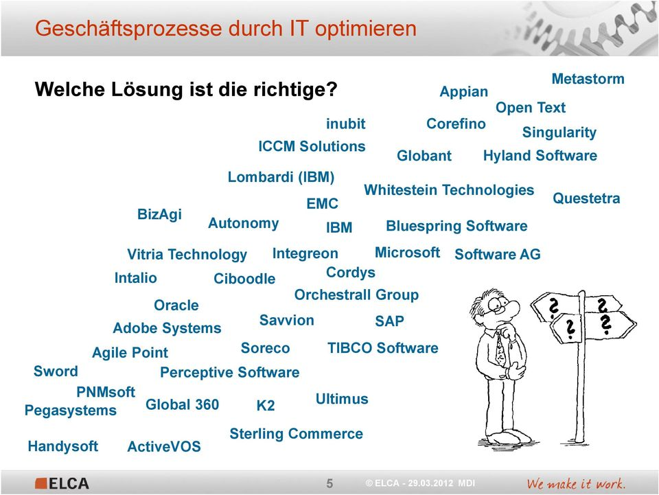 Technologies EMC BizAgi Autonomy IBM Bluespring Software Questetra Vitria Technology Integreon Microsoft Software AG Intalio