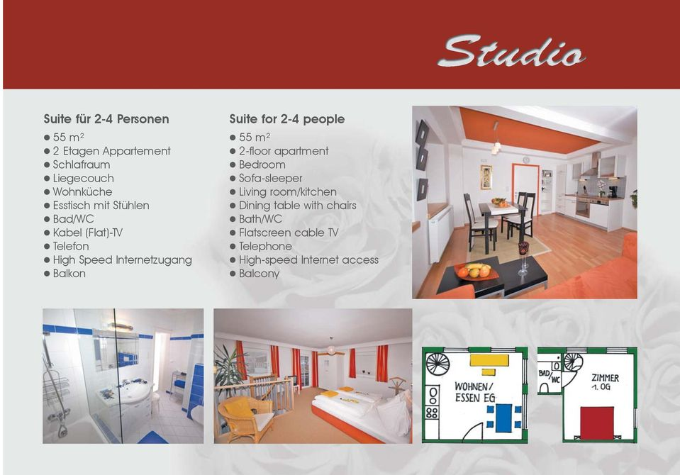 Suite for 2-4 people 55 m² 2-floor apartment Bedroom Sofa-sleeper Living room/kitchen