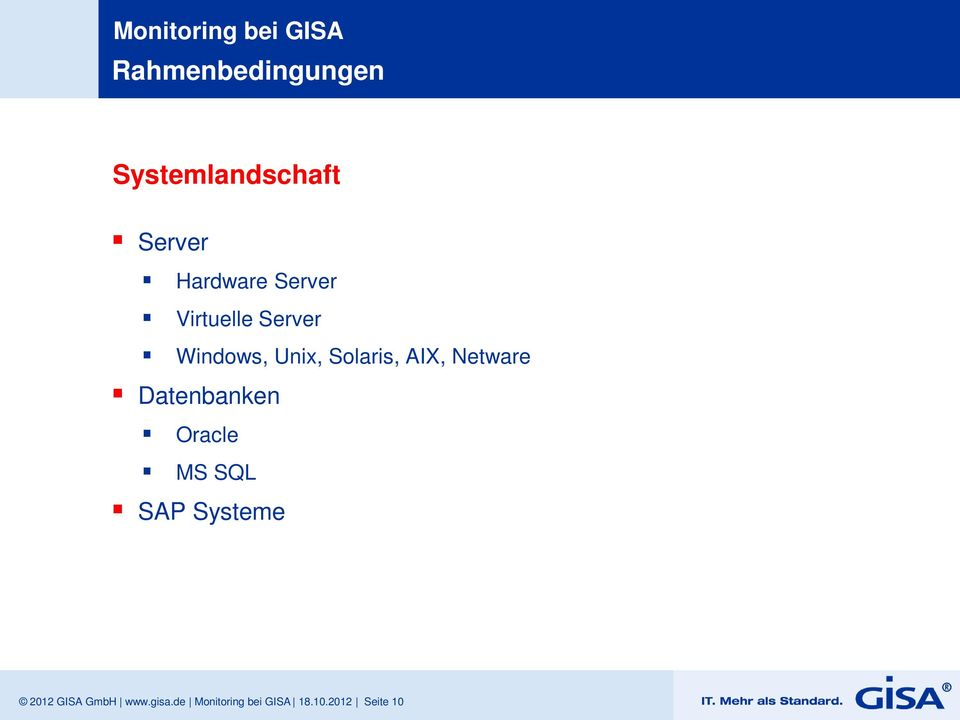 Netware Datenbanken Oracle MS SQL SAP Systeme 2012