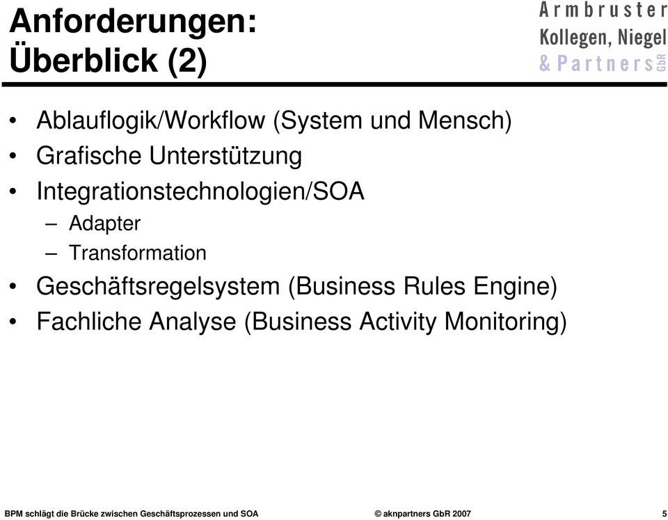 Geschäftsregelsystem (Business Rules Engine) Fachliche Analyse (Business