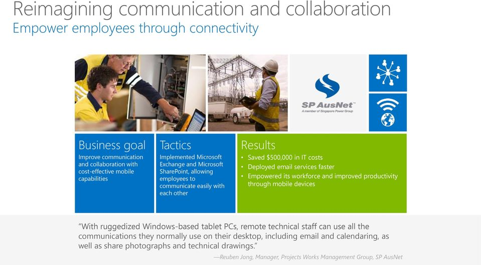 faster Empowered its workforce and improved productivity through mobile devices With ruggedized Windows-based tablet PCs, remote technical staff can use all the communications they