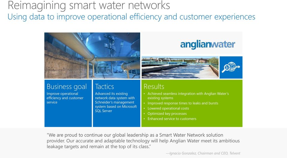 response times to leaks and bursts Lowered operational costs Optimized key processes Enhanced service to customers We are proud to continue our global leadership as a Smart Water Network