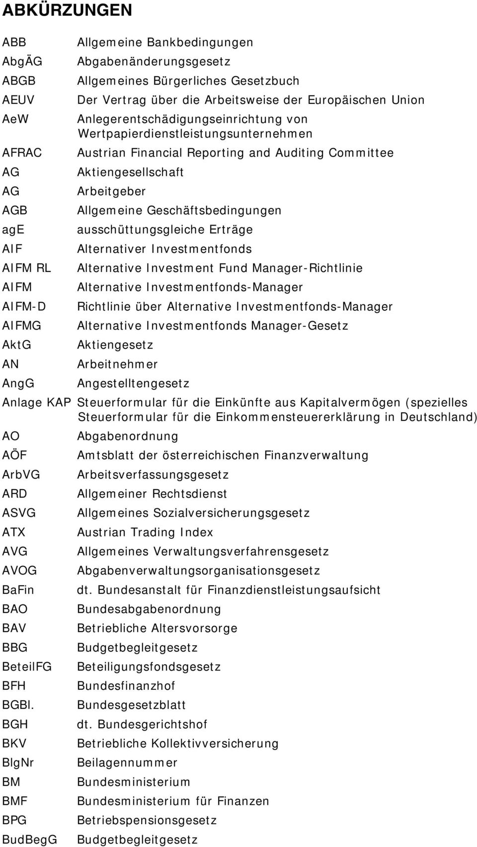 Arbeitgeber Allgemeine Geschäftsbedingungen ausschüttungsgleiche Erträge Alternativer Investmentfonds Alternative Investment Fund Manager-Richtlinie Alternative Investmentfonds-Manager Richtlinie