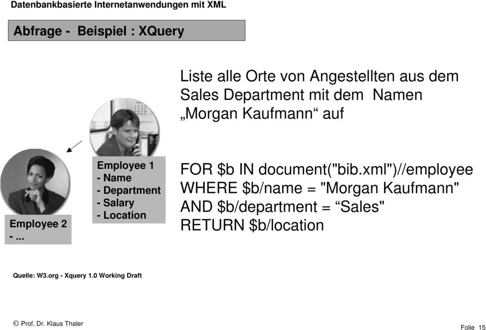".. Employee 1 - Name - Department - Salary - Location FOR $b IN document(""bib."
