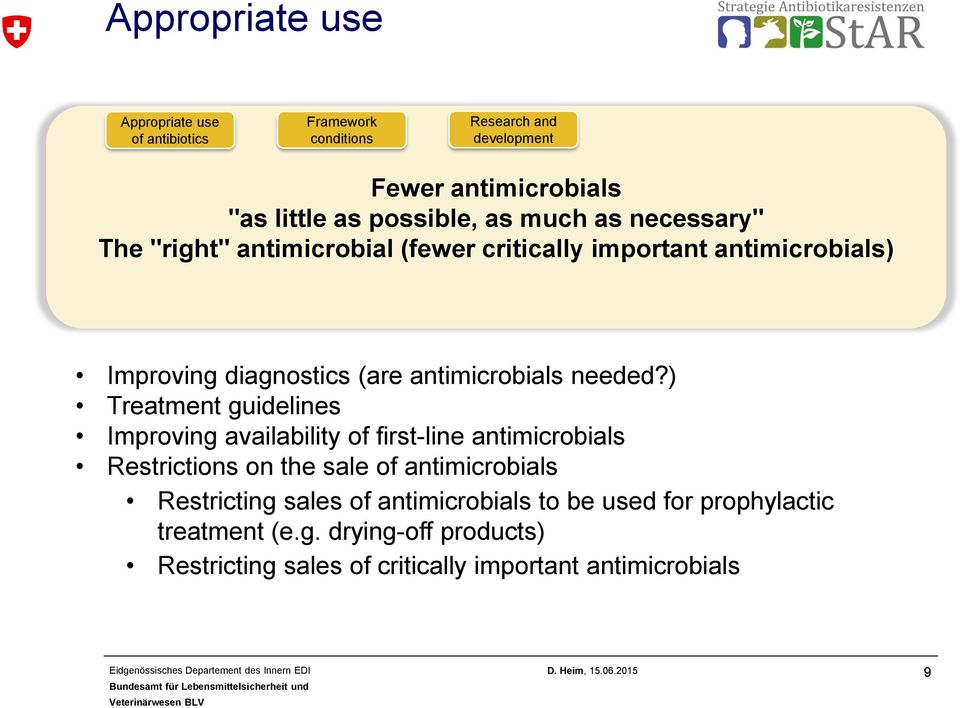 ) Treatment guidelines Improving availability of first-line antimicrobials Restrictions on the sale of antimicrobials Restricting sales of