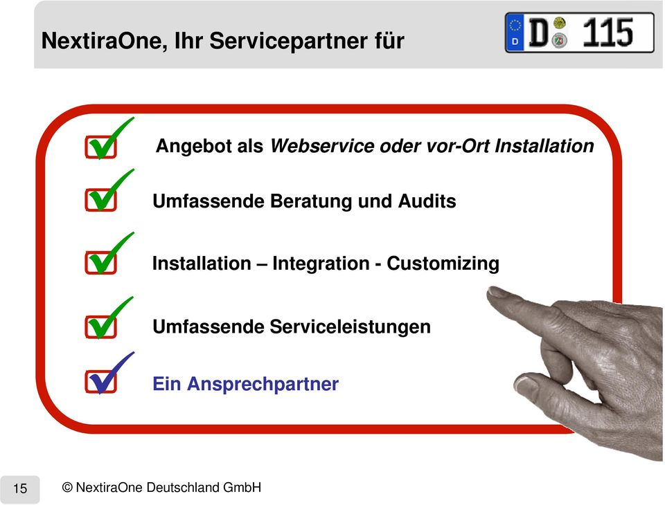 und Audits Integration - Customizing Serviceleistungen