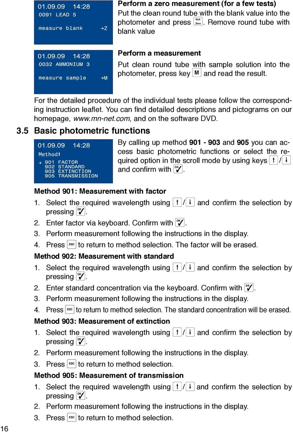 For the detailed procedure of the individual tests please follow the corresponding instruction leaflet. You can find detailed descriptions and pictograms on our homepage, www.mn-net.