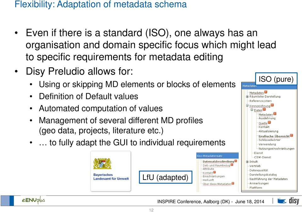 MD elements or blocks of elements Definition of Default values Automated computation of values Management of several